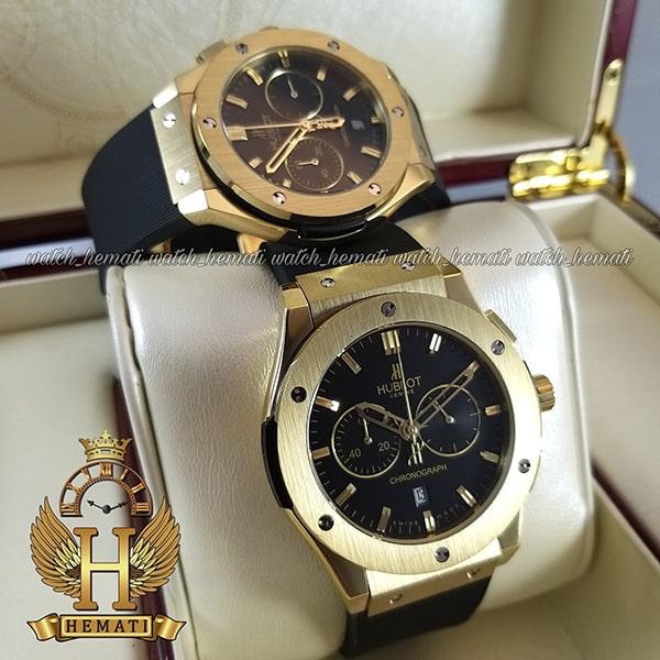 خرید ، قیمت ، مشخصات ساعت هابلوت سه موتوره قاب طلایی بند رابر