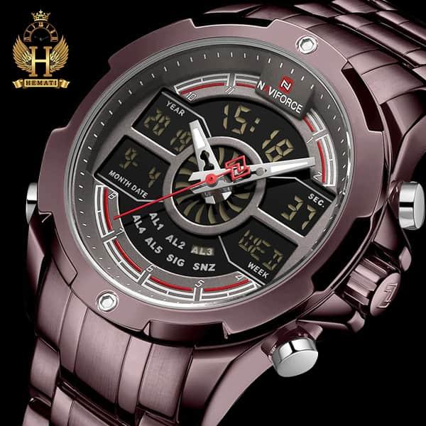 خرید انلاین ساعت مردانه نیوی فورس دو زمانه مدل naviforce nf9170m کافی