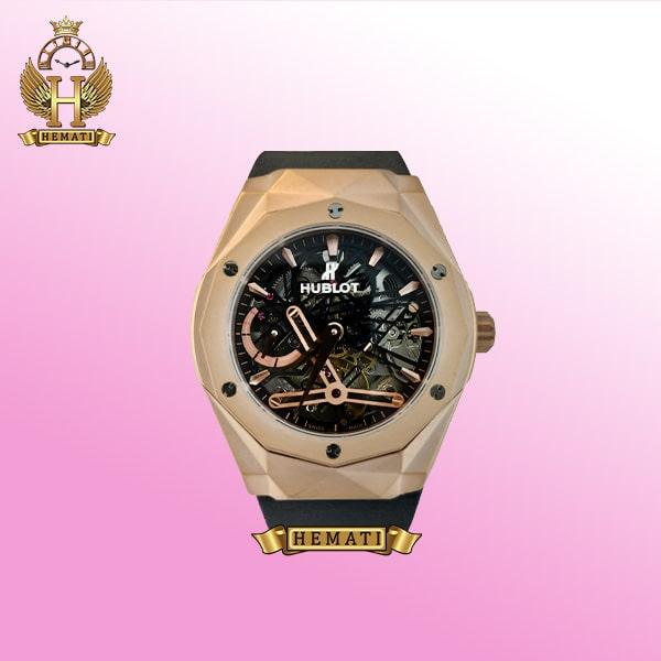 ساعت مردانه هابلوت موتور اتوماتیک Hublot BB1010 دورقاب تراش به رنگ رزگلد