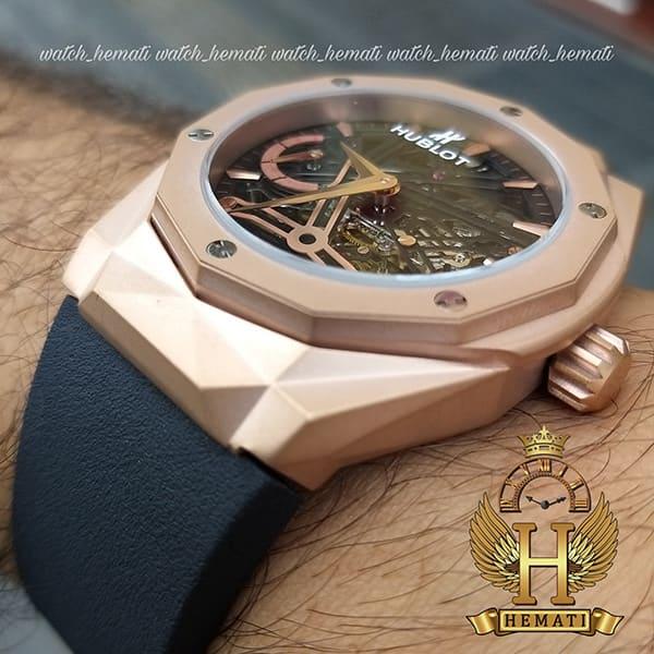 خرید ارزان ساعت مردانه هابلوت موتور اتوماتیک Hublot HUAM101 دورقاب تراش به رنگ رزگلد