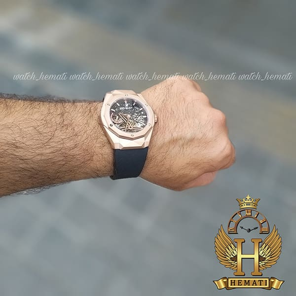 خرید اینترنتی ساعت مردانه هابلوت موتور اتوماتیک Hublot HUAM101 دورقاب تراش به رنگ رزگلد