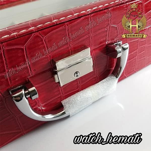 خرید ، قیمت ، مشخصات جعبه ساعت چوبی روکش چرم قرمز 12 تایی کلکسیونی BOX1200 درب شیشه ای