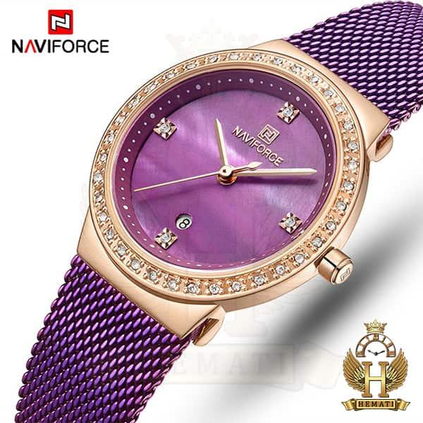 خرید اینترنتی ساعت زنانه نیوی فورس مدل nf5005l قاب رزگلد با بند بنفش