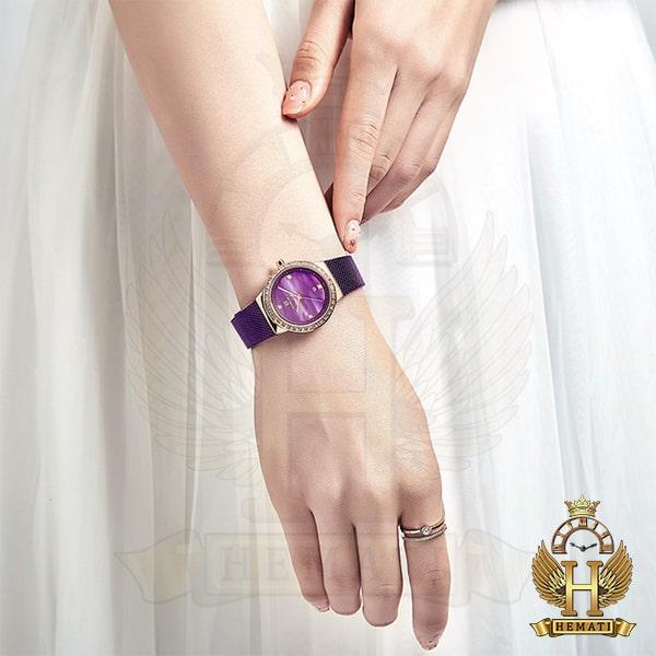 خرید انلاین ساعت زنانه نیوی فورس مدل nf5005l قاب رزگلد با بند بنفش