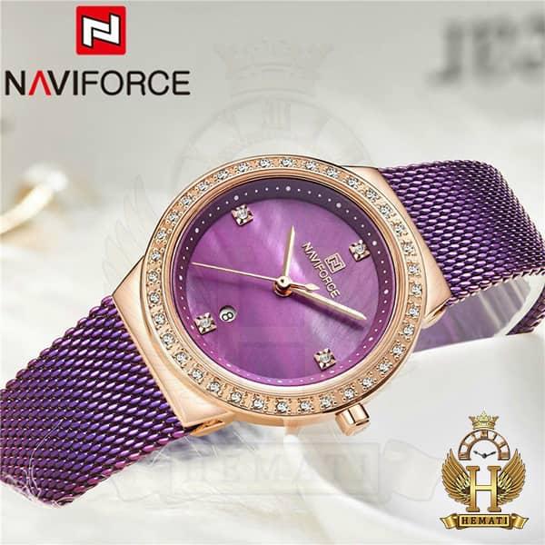 قیمت ساعت زنانه نیوی فورس مدل nf5005l قاب رزگلد با بند بنفش