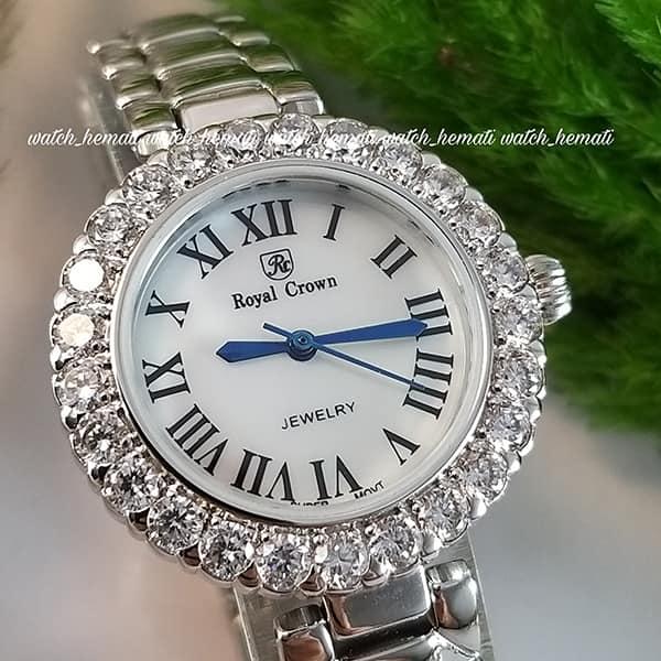 خرید انلاین ساعت رویال کرون زنانه مدل 6305 نقره ای ایندکس یونانی نگین دار