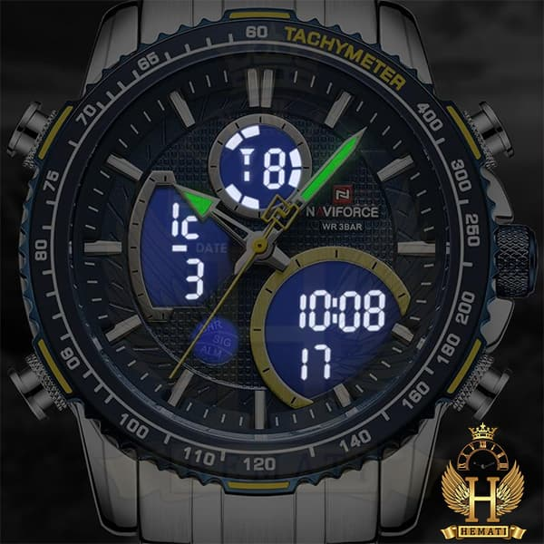 خرید ارزان ساعت مردانه دو زمانه نیوی فورس مدل naviforce nf9182m نقره ای سبز