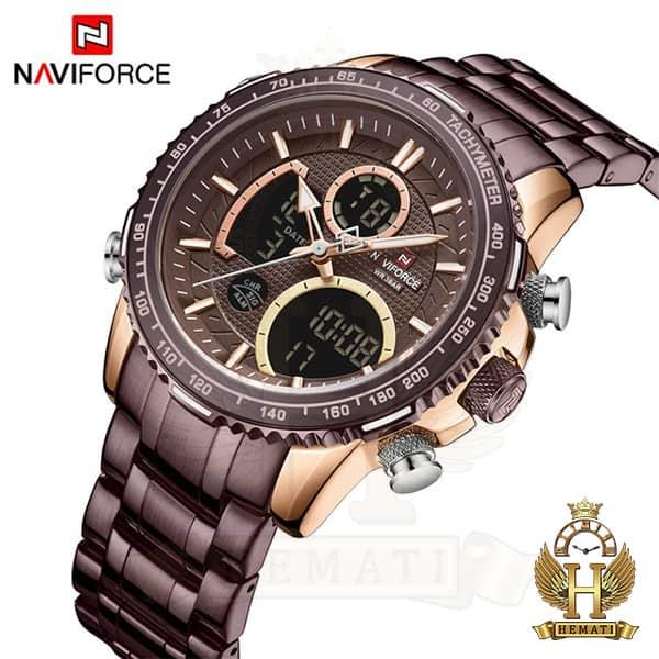مشخصات ساعت مردانه دو زمانه نیوی فورس مدل naviforce nf9182m کافی رزگلد