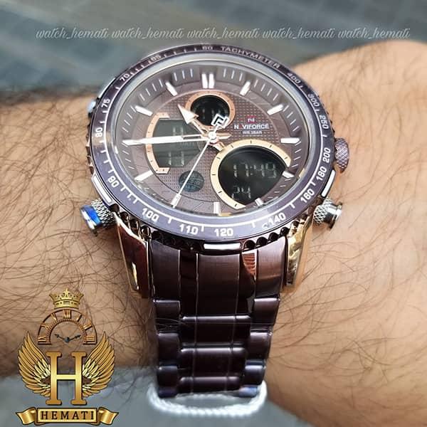 خرید انلاین ساعت مردانه دو زمانه نیوی فورس مدل naviforce nf9182m کافی رزگلد