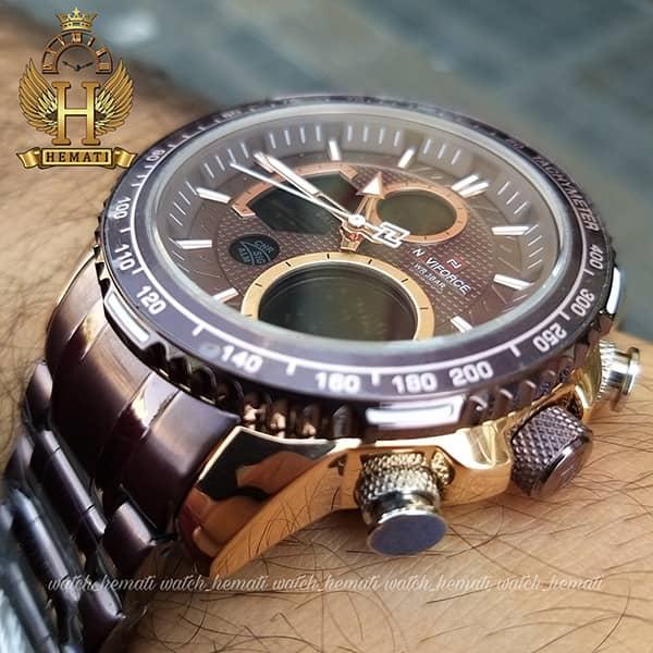 خرید ارزان ساعت مردانه دو زمانه نیوی فورس مدل naviforce nf9182m کافی رزگلد