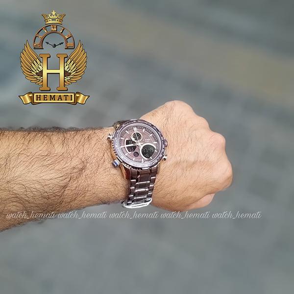 خرید اینترنتی ساعت مردانه دو زمانه نیوی فورس مدل naviforce nf9182m کافی رزگلد