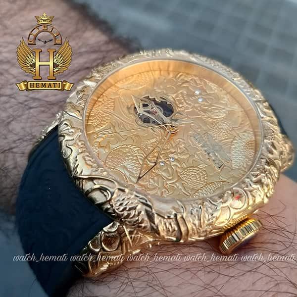 خرید ساعت مچی عقربه ای مردانه اینویکتا یاکوزا 25083 Invicta Yacuza قاب و صفحه طلایی با بند مشکی