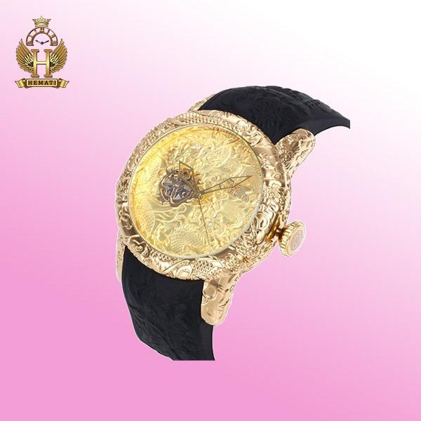 خرید ساعت اینویکتا یاکوزا قاب طلایی بند رابر INVICTA 25083 اتوماتیک رنگ صفحه مشکی ،طلایی