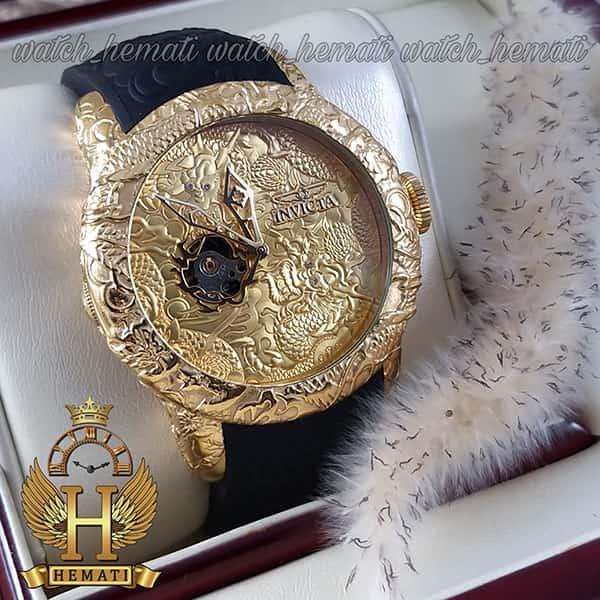 پر فروشترین ساعت مچی عقربه ای مردانه اینویکتا یاکوزا 25083 Invicta Yacuza قاب و صفحه طلایی با بند مشکی