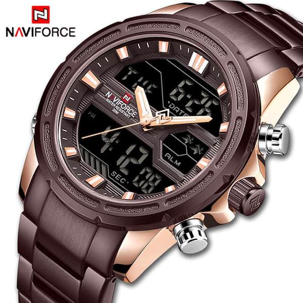 خرید انلاین ساعت مردانه نیوی فورس مدل naviforce nf9138m کافی رزگلد