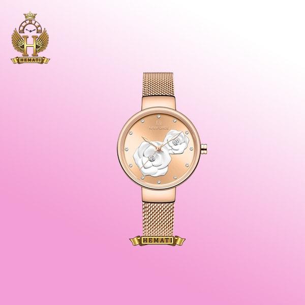 ساعت مچی زنانه نوی فورس NF5013L رنگ رزگلد با طرح گل روی صفحه به رنگ رزگلد و سفید