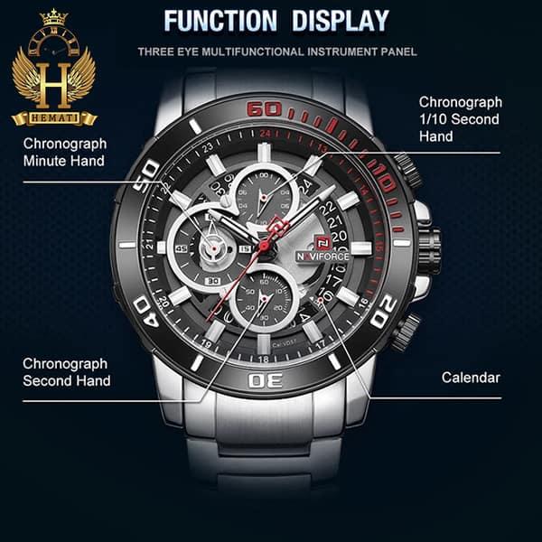 مشخصات ساعت مردانه نیوی فورس مدل naviforce nf9174m نقره ای مشکی