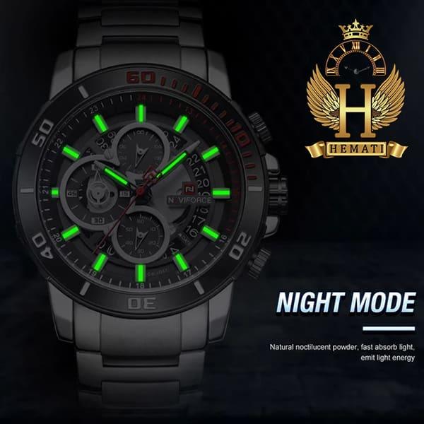 نمایندگی ساعت مردانه نیوی فورس مدل naviforce nf9174m نقره ای مشکی