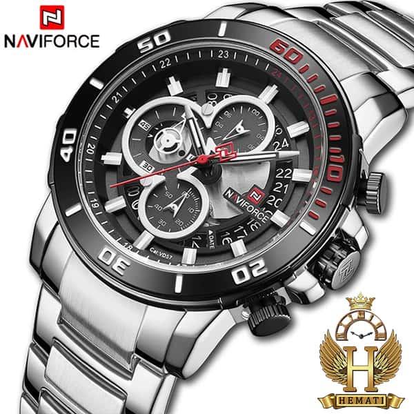 خرید اینترنتی ساعت مردانه نیوی فورس مدل naviforce nf9174m نقره ای مشکی