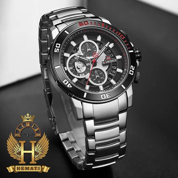 خرید انلاین ساعت مردانه نیوی فورس مدل naviforce nf9174m نقره ای مشکی