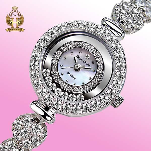 خرید ساعت زنانه رویال کرون مدل royal crown 5308 نگین متحرک دو دوربند