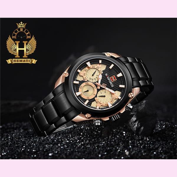 خرید ساعت مچی مردانه نیوی فورس مدل naviforce nf9113m مشکی رزگلد