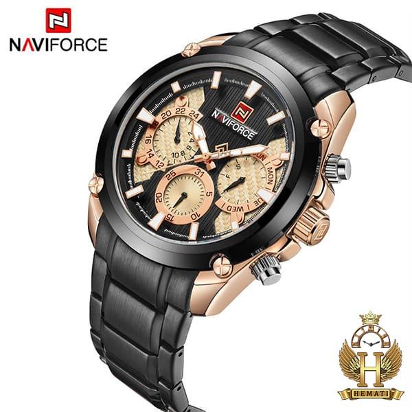 مشخصات ساعت مچی مردانه نیوی فورس مدل naviforce nf9113m مشکی رزگلد