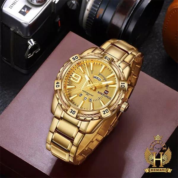 خرید ارزان ساعت مردانه نیوی فورس مدل naviforce nf9117m طلایی