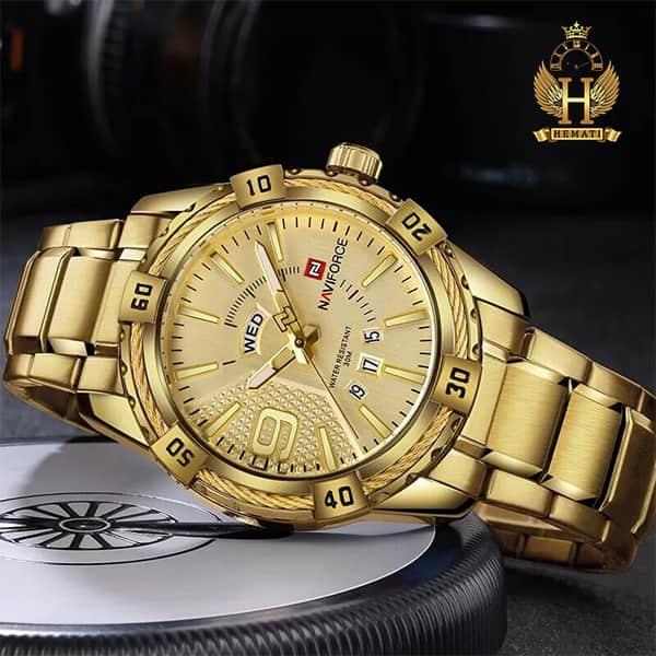 خرید اینترنتی ساعت مچی مردانه نیوی فورس مدل naviforce nf9117m طلایی