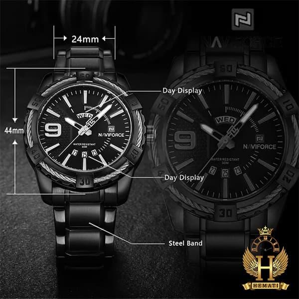 خرید ارزان ساعت مردانه نیوی فورس مدل naviforce nf9117m مشکی رزگلد