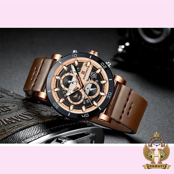 خرید اینترنتی ساعت مچی مردانه نیوی فورس مدل naviforce nf9131 قاب مشکی رزگلد با بند چرم قهوه ای