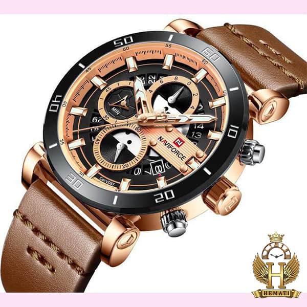 خرید انلاین ساعت مچی مردانه نیوی فورس مدل naviforce nf9131 قاب مشکی رزگلد با بند چرم قهوه ای