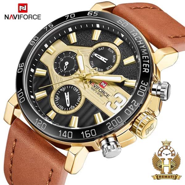 خرید اینترنتی ساعت مردانه نیوی فورس مدل naviforce nf9137m قاب مشکی طلایی با بند چرم قهوه ای روشن