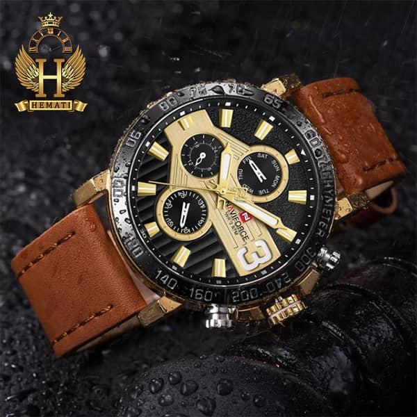 خرید انلاین ساعت مچی مردانه نیوی فورس مدل naviforce nf9137m قاب مشکی طلایی با بند چرم قهوه ای روشن