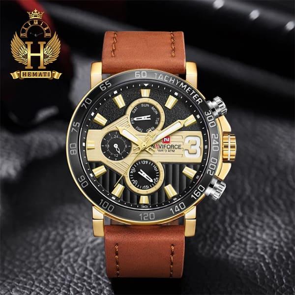 مشخصات ساعت مچی مردانه نیوی فورس مدل naviforce nf9137m قاب مشکی طلایی با بند چرم قهوه ای روشن