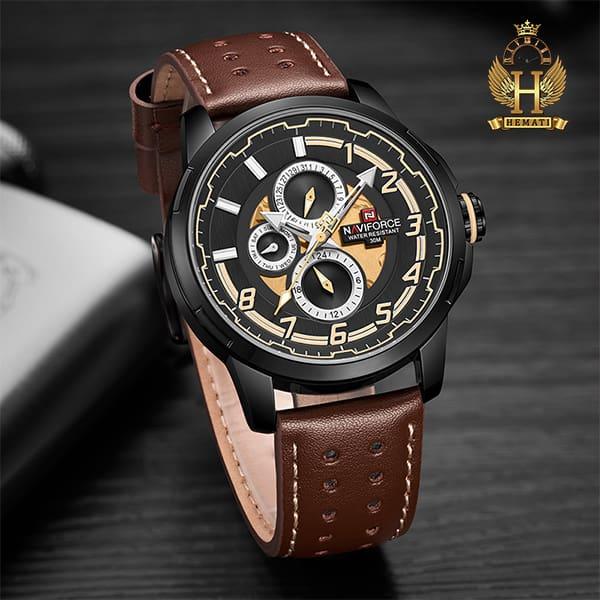 قیمت ساعت مردانه نیوی فورس مدل naviforce nf9142m قاب مشکی با بند چرم قهوه ای تیره