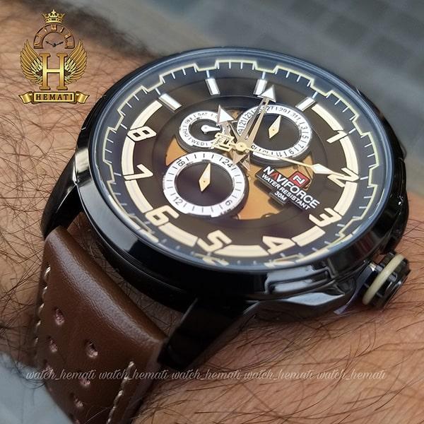 خرید اینترنتی ساعت مردانه نیوی فورس مدل naviforce nf9142m قاب مشکی با بند چرم قهوه ای تیره