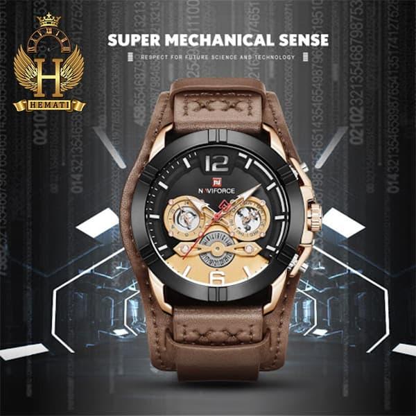 قیمت ساعت مردانه نیوی فورس مدل naviforce nf9162m قاب مشکی رزگلد با بند چرم قهوه ای طرح ساعت پورشه دیزاین