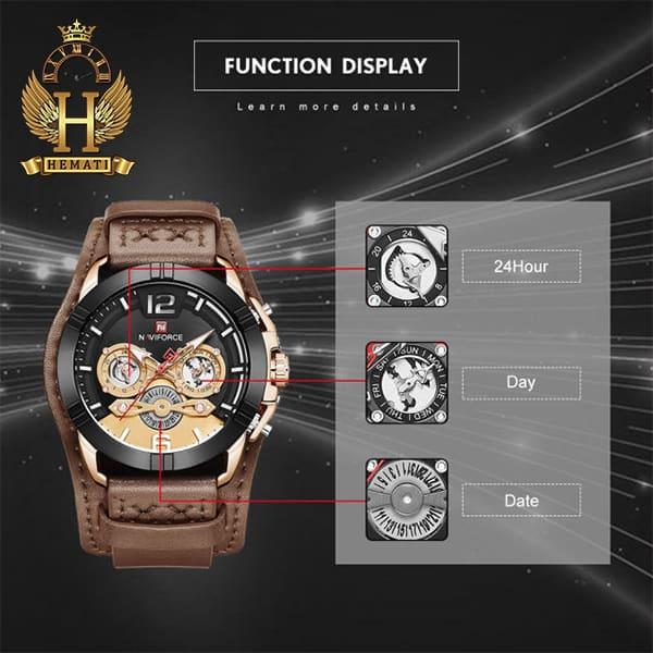 مشخصات ساعت مردانه نیوی فورس مدل naviforce nf9162m قاب مشکی رزگلد با بند چرم قهوه ای طرح ساعت پورشه دیزاین