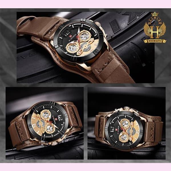 خرید انلاین ساعت مردانه نیوی فورس مدل naviforce nf9162m قاب مشکی رزگلد با بند چرم قهوه ای طرح ساعت پورشه دیزاین