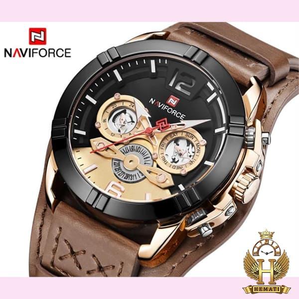 خرید ساعت مچی مردانه نیوی فورس مدل naviforce nf9162m قاب مشکی رزگلد با بند چرم قهوه ای طرح ساعت پورشه دیزاین