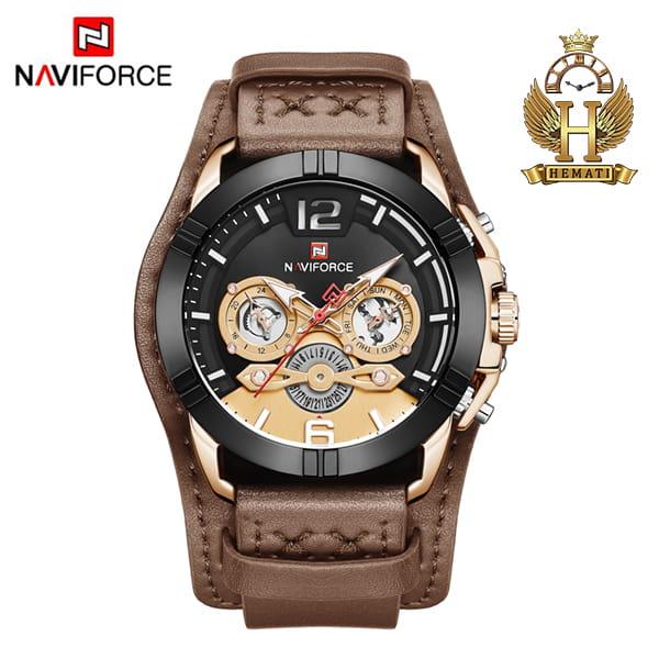 قیمت ساعت مچی مردانه نیوی فورس مدل naviforce nf9162m قاب مشکی رزگلد با بند چرم قهوه ای طرح ساعت پورشه دیزاین