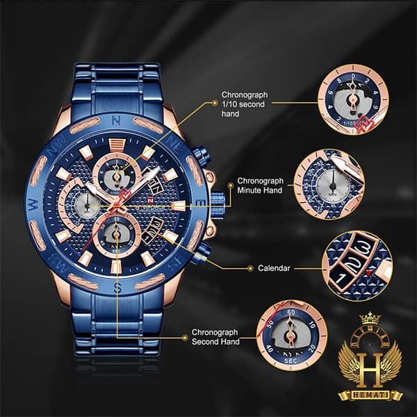 مشخصات ساعت مردانه نیوی فورس مدل naviforce nf9165m سرمه ای رزگلد