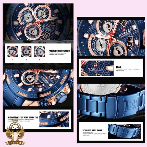 خرید اینترنتی ساعت مردانه نیوی فورس مدل naviforce nf9165m سرمه ای رزگلد