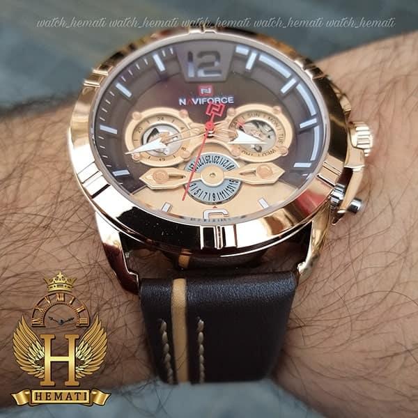 ساعت مردانه نیوی فورس مدل naviforce nf9168m رزگلد با بند چرم قهوه ای