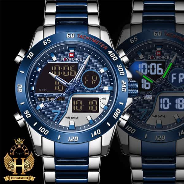 ساعت مردانه نیوی فورس دو زمانه مدل naviforce nf9171m نقره ای آبی