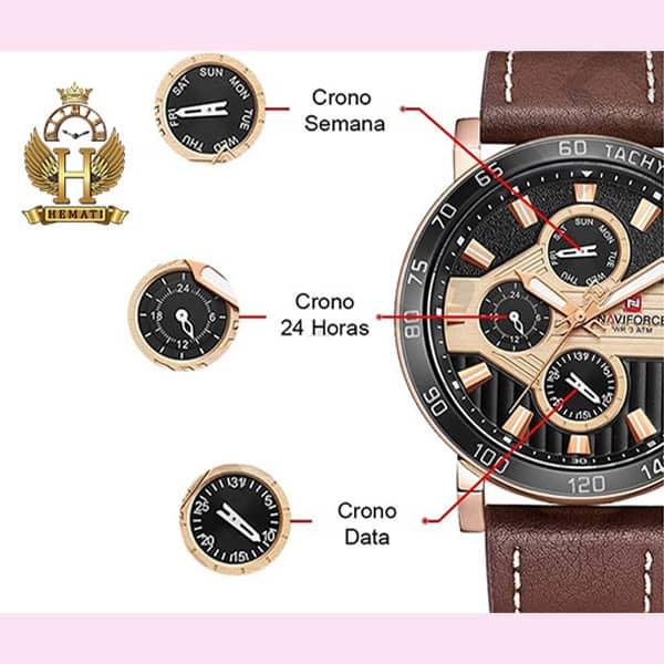 مشخصات ساعت مردانه نیوی فورس مدل naviforce nf9137m قاب مشکی طلایی با بند چرم قهوه ای روشن