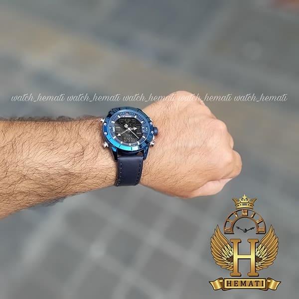 خرید اینترنتی ساعت مردانه نیوی فورس دو زمانه مدل naviforce nf9146m سرمه ای بند چرم