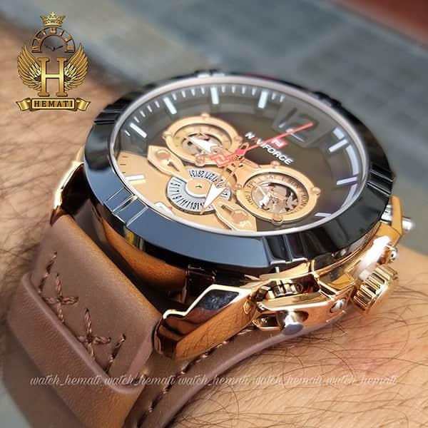 خرید ساعت مردانه نیوی فورس مدل naviforce nf9162m قاب مشکی رزگلد با بند چرم قهوه ای طرح ساعت پورشه دیزاین