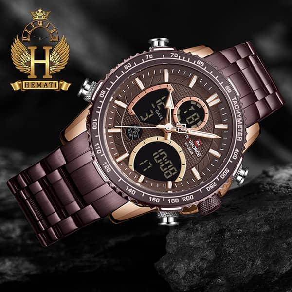 خرید ساعت مردانه دو زمانه نیوی فورس مدل naviforce nf9182m کافی رزگلد